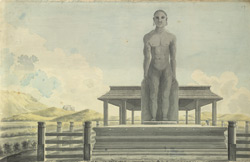 f.29   Statue of Bahubali at Karkala.  'Jaign Collossal Statue at Kauricul. Kanara.  35 feet high from head to feet out of one stone.'